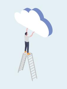 Grafiikka, mies seisoo tikkailla ja kurkottaa kohti pilviä.