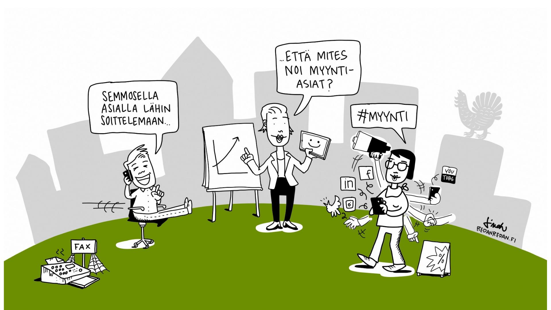 Pienyrittäjän MyyntiTreenit -hanke. Grafiikassa piirroshahmoja, jotka myyvät eri tavoilla.