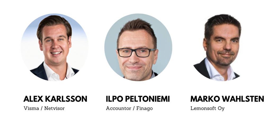 Tilitoimisto ajassa -hankkeen koulutuspäivän puhujat: Alex Karlsson, Ilpo Peltonimei ja Marko Walhsten.