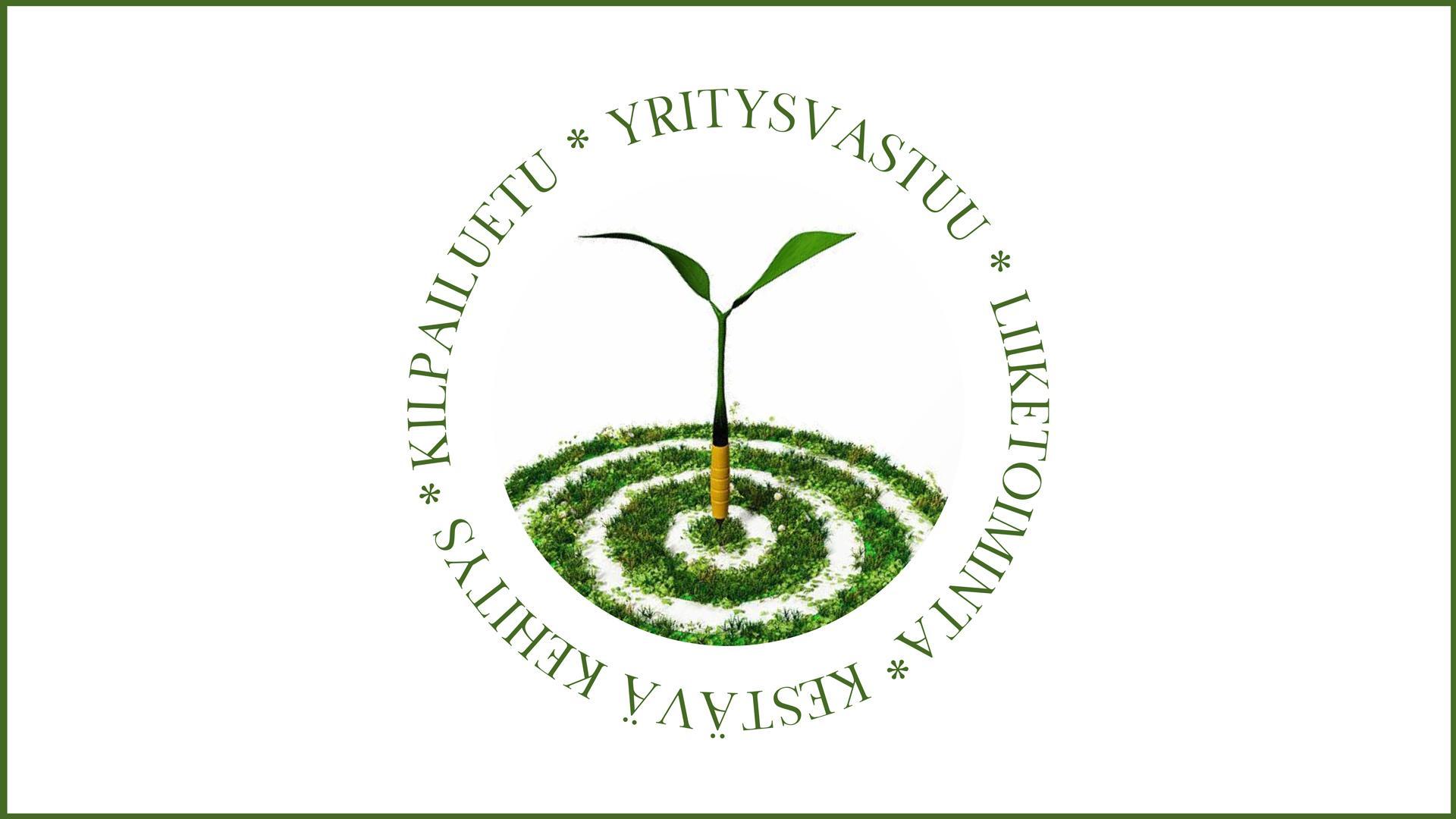 Vihreä verso kasvaa ruohoa kasvavasta tikkataulusta. Ympärillä ringissä tekstit yritysvastuu, liiketoiminta, kestävä kehitys, kilpailuetu.